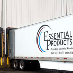 An Essential Products semi truck at the warehouse in Chicago